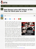 APT Player Of the Year 2014 Sam Razavi