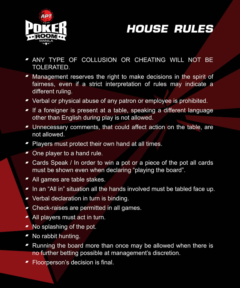 home poker rules